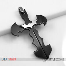 NEW Stainless Steel The Dark Night Batman Logo Symbol on Cross Pendant Black 13G