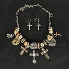 M&F Western Womens Jewelry Necklace Earrings Cross Heart Charm 29248