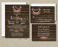 100 Floral Rustic Antler Wedding Invitation  Brown Wood Suite with Envelopes