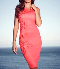 Lipsy Michelle Keegan Size 12 Coral Pink Floral Embroidery Bodycon Dress RP£65