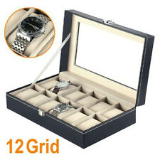12 Watch Display Box Case Faux Leather UK SELLER