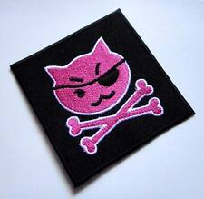 Cute Pretty Pink Cat Pirate Crossbones Embroidered Iron on Patch Free Postage
