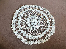 Beautiful Collectible Handmade Crocheted Doily White 14 Inch Rossette WOW