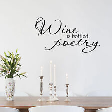 Wine is Poetry in a Bottle Vinyl Wall Sticker Quote Decal Vinyl Lettering Decor