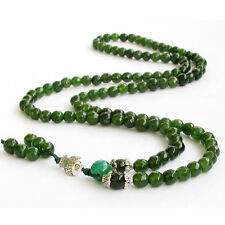 Faceted Green Jade Tibet Buddhist 108 Prayer Beads Mala Necklace