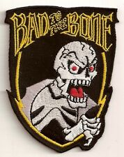BAD TO THE BONE SKELETON IRON ON BIKER PATCH