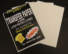 10x A4 Laser & Copier T Shirt Thermal Transfer Paper Sheets For Dark Fabrics