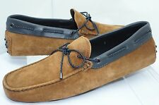 Tod's Men's Brown Shoes Woven Lace Loafers Size 9 Slip Ons Drivers Suede NIB