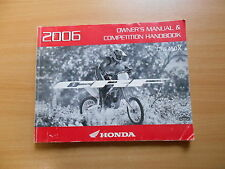 Owner's manual & Competition Handbook HONDA CRF 450 x modello 2006