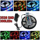 Waterproof 5M 3528 SMD RGB 300 LED Strip Light Tape Rope + 44 Key IR +2A Adapter