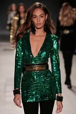 BNWT H&M BALMAIN green sequin bodycon dress size UK10