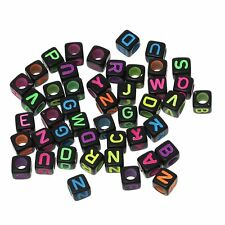"Rockin Beads 450-900 Mixed Acrylic Alphabet /Letter ""A-z"" Cube Spacer U-Pick"