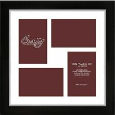 Craig Frames 12x12 Black frame, White Collage Mat with Openings for 4-4x6 Images