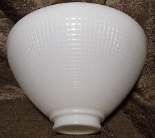 "White Milk Glass 2 1/4"" X 8"" Floor Table Lamp IES Reflector Waffle Shade"