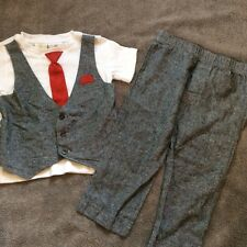 FAO Shwartz Boys Gray Suit Tee with Built in Red Tie and Gray Pants Set Size 2T