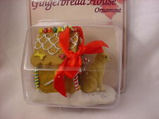CHIHUAHUA GINGERBREAD HOUSE dog Christmas ORNAMENT Tan White Puppy FIGURINE NEW
