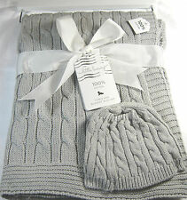 Little Luxury Baby Blanket & Hat  Cable Knit  Gray  100% Cotton 30 X 40