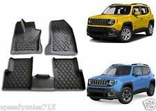 OEM Mopar Black Rubber Slush Floor Mats For 2015-2016 Jeep Renegade New