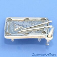 BILLIARD POOL TABLE SOLID 3D .925 Sterling Silver Charm