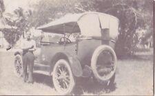 OLD PHOTO VINTAGE CAR SOFT TOP SPOKE WHEELS VEHICLE TRANSPORT MAN SPARE TYRE