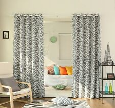 Curtain Drapes Set Grey White Zebra Youth Panel Pair Darkening Grommet 84-inch