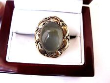 VINTAGE 14K YELLOW GOLD RING with FINE GREEN MOONSTONE