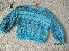 Jungen oder Mädchen Pullover in Blau/Schwarz Gr.104-116 Handarbeit