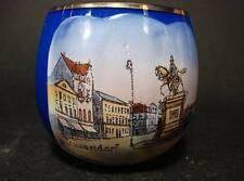 Schnapsglas,Tummler/Stehaufglas, blau ,innen Milchglas,Emailbild Düsseldorf,H5,5