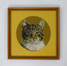 "Vtg 70s Retro Cat Portrait Needlepoint Embroidery Framed Wall Art 12.5"" x 12.5"""