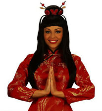 Ladies Long Black China Girl Wig Chinese Oriental Geisha Japanese Fancy Dress