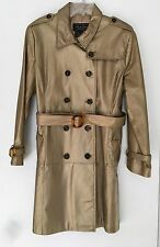 Women's Terry Lewis Genuine Leather Trench Coat- Metallic Gold- Lined Belt Large