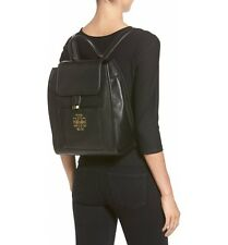 NWT IN PLASTIC  Tory Burch 'Britten' Drawstring Leather Backpack  Black $525