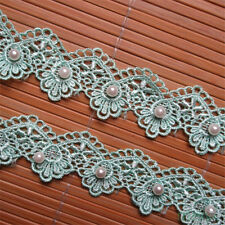 2M Vintage Flower Pearl Embroidered Lace Edge Trim Ribbon Applique Sewing Fabric