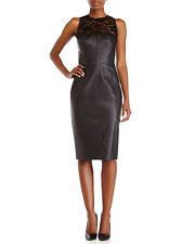 New ALEXIA ADMOR Faux Leather Midi Cocktail Party Sheath Dress Black Sexy M $250