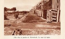 MARRAKECH FETE PACHA MUR TAPIS MAROC IMAGE 1931 MOROCCO CARPET WALL OLD PRINT