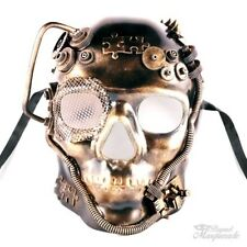 Steampunk Full Face Theater Masquerade Mask for Men - Metallic Gold