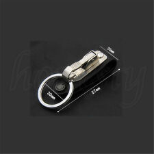 1pc New Stainless Steel Leather Detachable Keychain Belt Clip Key Ring Holder