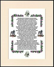 BEDLINGTON TERRIER ALL ABOUT THE BEDLINGTON POEM DOG PRINT READY TO FRAME