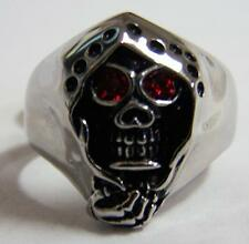 GRIM REAPER RED CRYSTAL EYES STAINLESS STEEL RING size 10 silver metal S-519 NEW