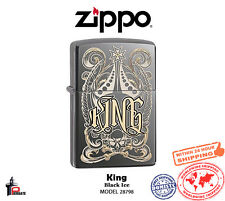 Zippo Choice King Venetian Laser Engrave Black Ice Windproof Lighter 28798