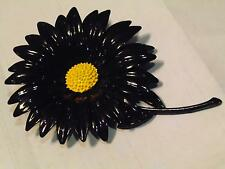Vtg 60's Huge Black Enamel Metal Flower Brooch Pin Sunflower Daisy 4.5""