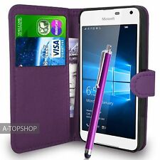 Purple Wallet Case PU Leather Book Cover For Nokia / Microsoft Lumia 650 Mobile