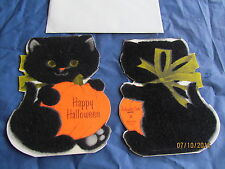 Vintage Fuzzy Black Cat Happy Halloween Card With Envelope Unused Excellent