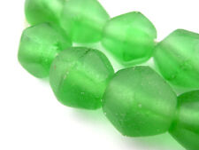 Green Sea Glass Java Faceted Bicone Beads