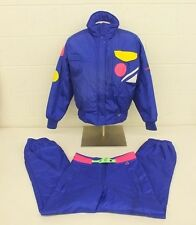 Vintage Obermeyer Insulated Shiny Purple Neon Accented 2-Piece Ski Suit US 12