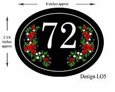 NEW 8 x 5 3/4 inch ALUMINIUM OVAL  Floral Design House,door,caravan Plaque/sign