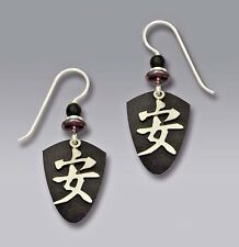 Adajio Chinese TRANQUILITY Character EARRINGS on Black Shield STERLING - Boxed