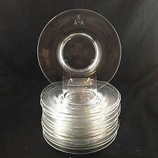 """SET 12 Antique Steuben Clear Art Glass  8-1/2"""" Plates"""