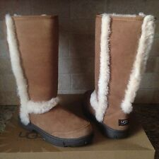 UGG SUNBURST TALL CHESTNUT SUEDE SHEEPSKIN BOOTS US 6 WOMENS 5218