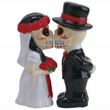 Day of the Dead Wedding Skeletons Salt & Pepper Shakers Set Dia de los Muertos